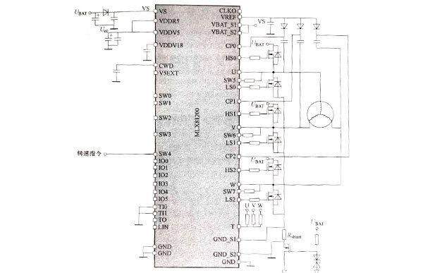 直流无刷电机无传感器典型的应用电路
