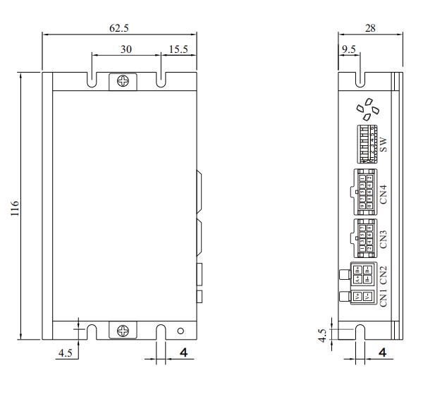 闭环步进电机驱动器D2SS57_外形尺寸