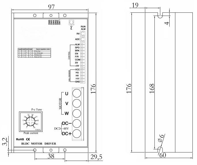 BLD75LA无刷电机驱动器-外形尺寸