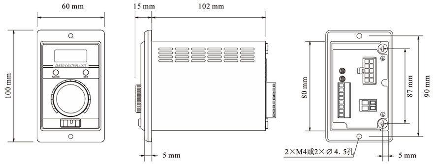 DH200LD無刷電機驅動器-外形尺寸