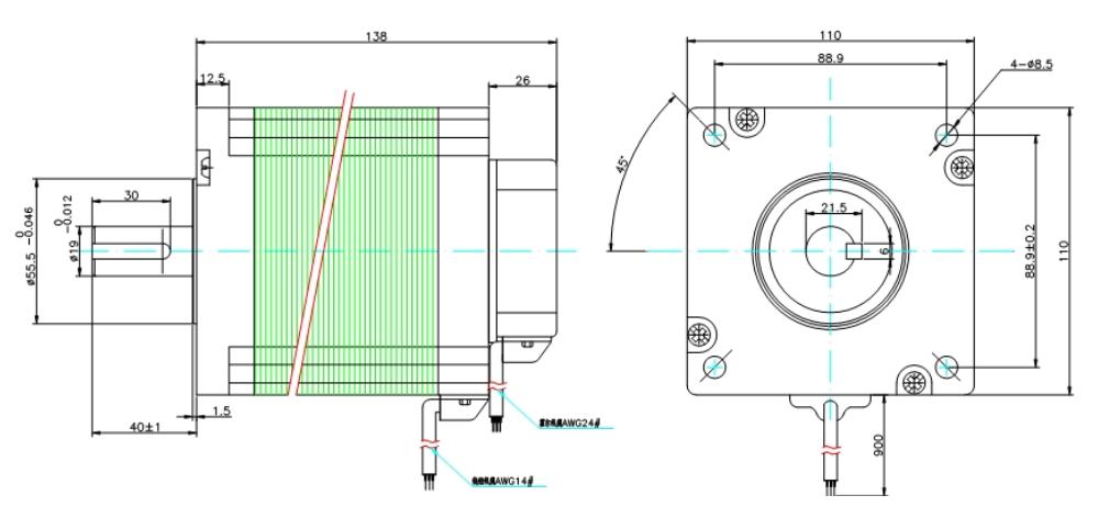 110直流伺服电机︱尺寸图